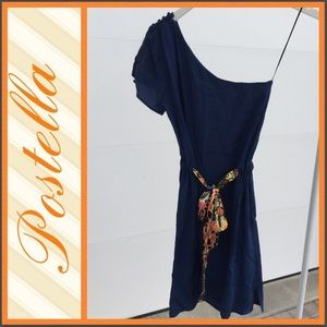 One Shoulder Postella Dress with Colorful Tie